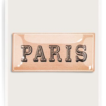Paris Text Decoupage Glass Tray