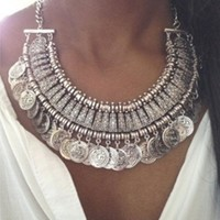 Silver Tone Tassel Coin Chain Link Chunky Statement Necklace