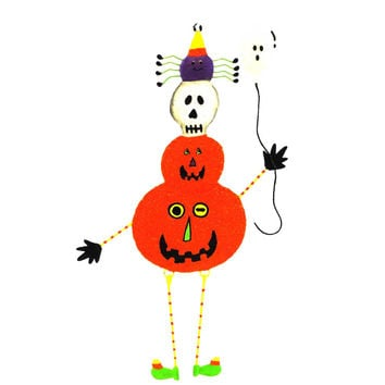 Halloween PUMPKIN MAN ORNAMENT. Metal Ghost Spider Candy Corn 67959 SKULL