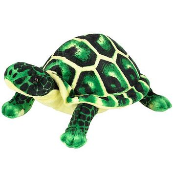 "10.5"" Small Green Turtle Stuffed Animal Plush Floppy Zoo Reptile & Amphibian Collection"