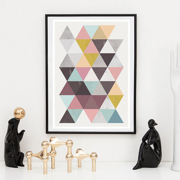 Retro wall art, Triangle art, Mid century print, Nordic design, minimalist poster,  Home decor, Geometric print, Watercolor art, multi color
