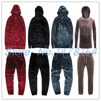2017 Men Women Hip Hop Velour Velvet Pullover Tracksuit Kanye Hoodie Pants Joggers Streetstyle Sweatshirt West Casual Popular