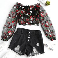 Floral Embroidered Mesh Denim Shorts Set