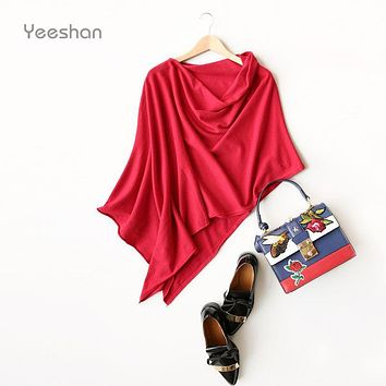 Yeeshan Irregular Cashmere Poncho Women Special Design Pullover Women's Poncho Red  Grey Camel Women's Scarf Luxury Brand