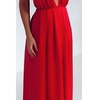 Red Deep V Plunging Neck Spaghetti Strap with Slit Leg and Open Back Prom Cocktail Maxi Party Evening Dress