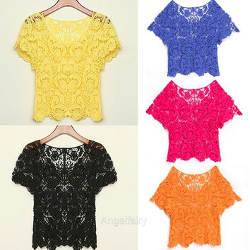 New Fashion Women's Sexy Hollow Out Floral Crochet Lace Short Sleeve Casual Blouse Top Shirt A_L SV013526 = 1658509956