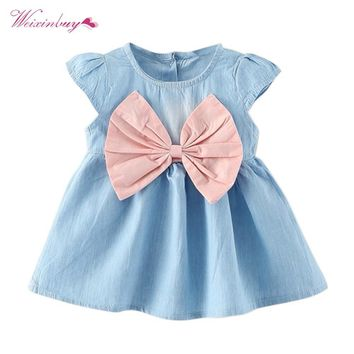 WEIXINBUY Baby Girls Bow-knot Design Mini Dress Children Baby Summer Style Fashion Short Sleeve Party Dress Kids Clothes