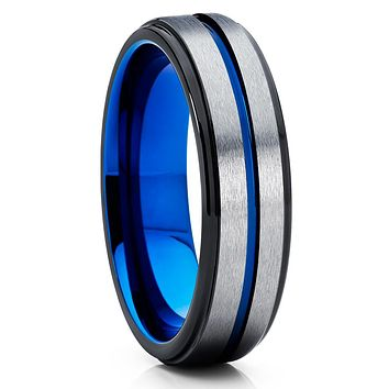 Gray Tungsten Wedding Band - Blue Tungsten Ring - 6mm Black Tungsten