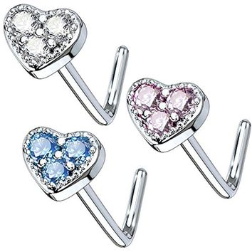 BodyJ4You 3PCS Set Nose Ring 20G L-Shape Bend Stud Heart CZ Surgical Steel Nostril Body Piercing