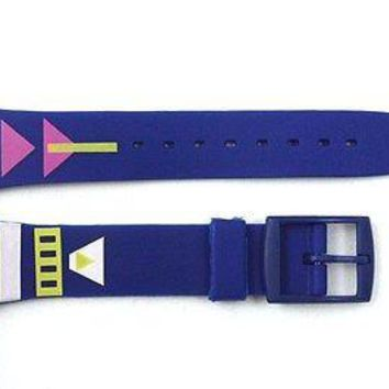 17mm Men's Arrow Pattern Replacement Blue Watch Band Strap fits SWATCH watches