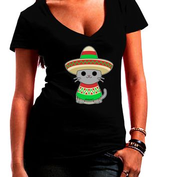 Cat with Sombrero and Poncho Juniors V-Neck Dark T-Shirt by TooLoud