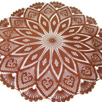 Big Round Brown Crochet Doily 28 inches , Cottage Chic Style, Rustic Home Decor