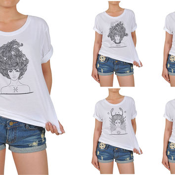 Women Zodiac Hand Drawn Graphic Printed Cotton T-shirt  WTS_12