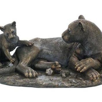 Mother Leopard and Baby Cub Bronze Finish Statue 15L