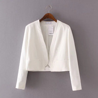 SIMPLE - Women Long Sleeve Solid Business Casual Suit Outerwear Jacket Top a13183