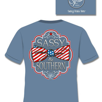 SALE Sassy Frass Comfort Colors Sassy & Southern USA Flag Bow Girlie Bright T Shirt