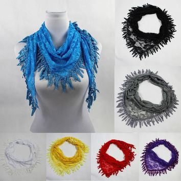 Long Lace Triangular Mantilla Scarf Wrap