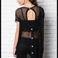 Black Oversized Button Back Top