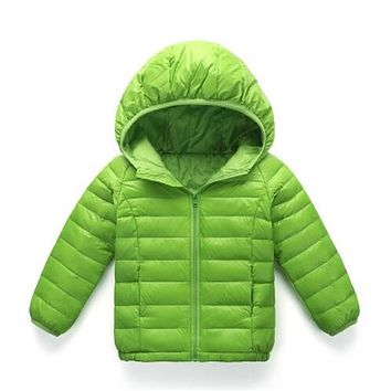 Winter Children Coat Boys Girls Winter Warm Down Jackets Hooded Outwear Princess Teenage Kids Baby Solid Color Fashion Clothing