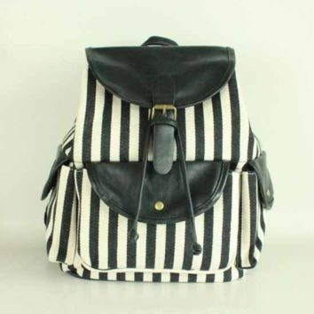 Black White Striped Travel Bag Canvas Lightweight Backpack