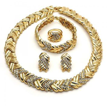 Gold Layered 06.288.0004 Necklace, Bracelet, Earring and Ring, with White Crystal, Polished Finish, Gold Tone
