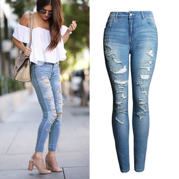 2074    High Waist Jeans Ladies Cotton Denim Pants Stretch Womens Bleach Ripped Jeans Skinny Jeans Denim Jeans For Female