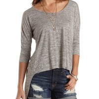 Slub Knit High-Low Flyaway Tee by Charlotte Russe