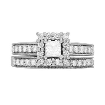 Cherish Always Princess-Cut Diamond Frame Engagement Ring Set in 14k White Gold (1 ct. T.W.)