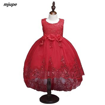 Sequins flower girls dresses for party and wedding white first communion dresses for girls 2017 customized kids ball gowns