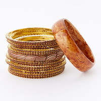 Gold & Champagne Crystal Bangle Set | zulily