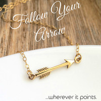 Follow your Arrow Necklace, Tiny Arrow Necklace, Gold sideways Arrow, little arrow inspirational graduation gift