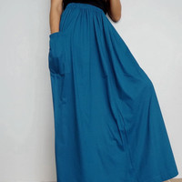 Women Maxi Long Skirt , Casual Gypsy, Bohemian , Cotton Blend In Petrol Blue (Skirt *M8).
