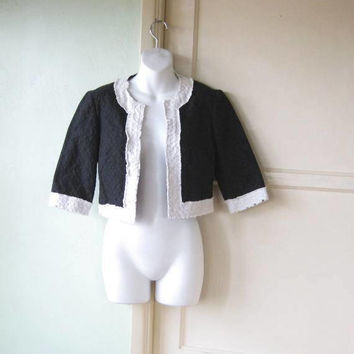 West Coast Chic Black/Off-White Trina Turk Bolero; Cropped, Textured Black Swing Jacket/Bolero; Women's XS; U.S. Shipping Included