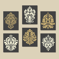 DAMASK Wall Art, CANVAS or Prints Gray Gold Bedroom Pictures, Bathroom Artwork, Swirl Scroll Design, Kitchen Decor Set of 6 Home Decor