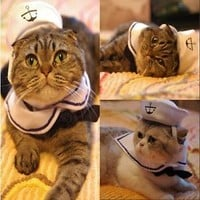 New Cat Kitten Small Dog Puppy Sailor Costume Adjustable Outfit  2pcs Hat & Cape