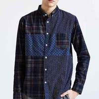 Oxford Lads Colorblock Plaid Corduroy Button-Down Shirt - Navy