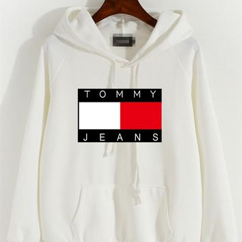 """Tommy Jeans"" Women Casual Letter Multicolor Pattern Long Sleeve Hooded Sweater Sweatshirt Tops"