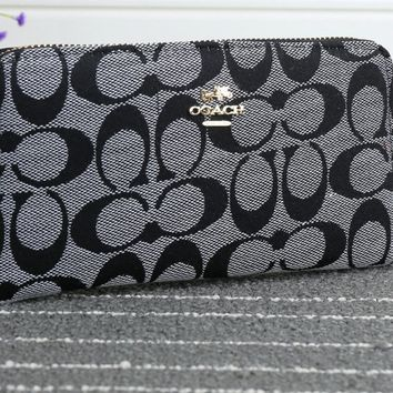 """Coach"" Women Purse Fashion Casual Classic Print Zip Long Section Wallet Handbag"