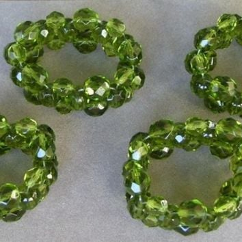 Olivine Green Crystal Stretch Napkin Rings (set of 4)