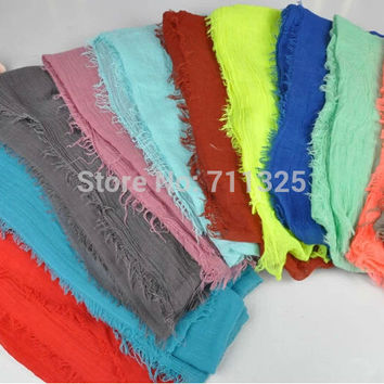 New Solid Color Plain Color Spring Scarves Women Shawl Viscose Cotton Scarf Long Section JSAA01