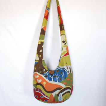 Crossbody Bag Hobo Bag, Sling Bag, Retro, Forest, Woods, Trees, Foliage, Fall, Autumn, Hippie Purse, Handmade Bag