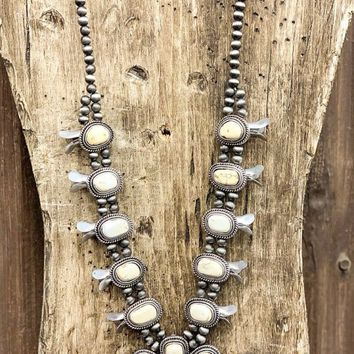 Necklace - What Lonely Looks Like Faux White Turquoise Squash Blossom