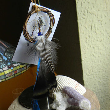 "Dream Catcher Ornament 2"" Peregrine Falcon in The Native Inspired Tribal Rustic Style"