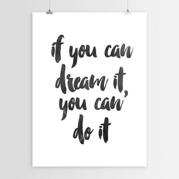 "Inspirational Print ""If You Can Dream"" Walt Disney Quote Motivational Quote Typography Art Home Decor Typographic Print Walt Disney Download"