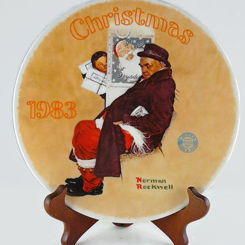 Vintage 1983, Norman Rockwell, Tenth Issue, Christmas Series, Santa In The Subway, By Knowles