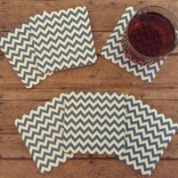 6 Drink Coasters, Blue Or Light Blue And White Chevron MDF Wood Coaster Set, Wedding Gift, Anniversary Gift, Housewarming Gift, Hostess Gift