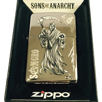Zippo Custom Lighter - Samcro Sons of Anarchy SOA Name Reaper - Polish Chrome