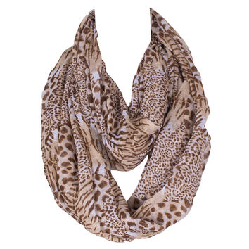 The new autumn and winter female tiger leather Leopard Printed Ribbon neck scarf
