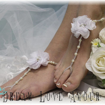 Tropical flower Barefoot sandals pearls rhinestone  - beach wedding elegant -bridal foot jewelry-barefoot sandal -footless sandles B27