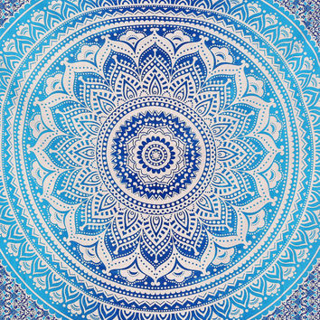 Twin Blue ombre Indian Mandala Tapestry Indian tapestries Indian bedspread Hippie Hippy Wall Hanging Throw Bedspread Dorm tapestry